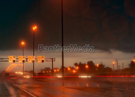 street light at night in rainy