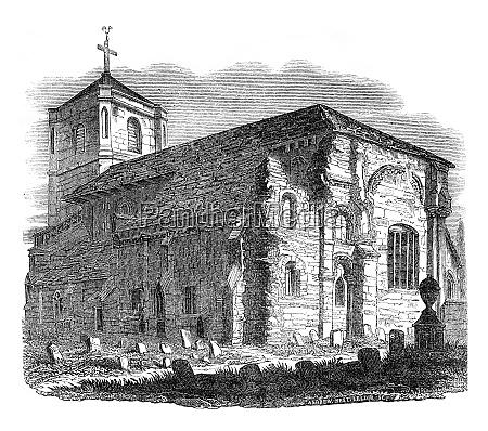 waltham abbey vintage gravur