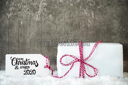 weisses weihnachtsgeschenk schnee label schleife frohe