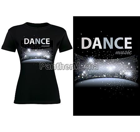 black t shirt design with disco