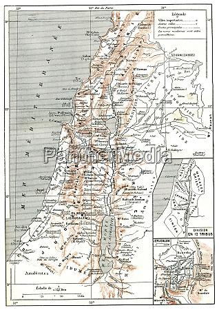 karte von palaestina vintage gravur