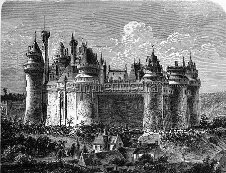 chateau de pierrefonds vintage gravur