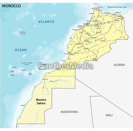 strassenkarte des koenigreichs marokko