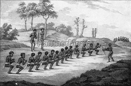 kaenguru tanz unter australischen eingeborenen vintage