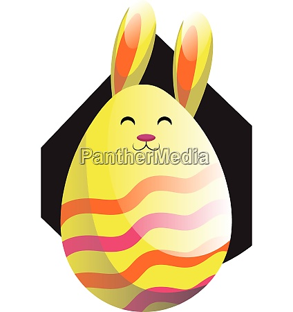 yellow easter rabbit in form of