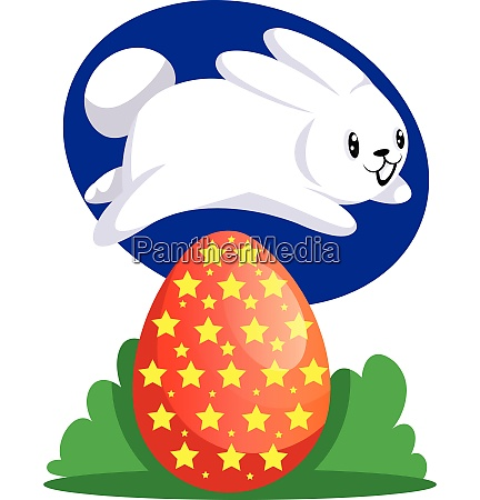 white easter rabbit jumping over red
