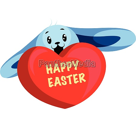 blue easter bunny wishing happy easter