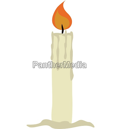 simple white burning candle vector illustration