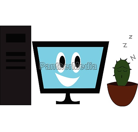 pc with smiling monitor and sleeping