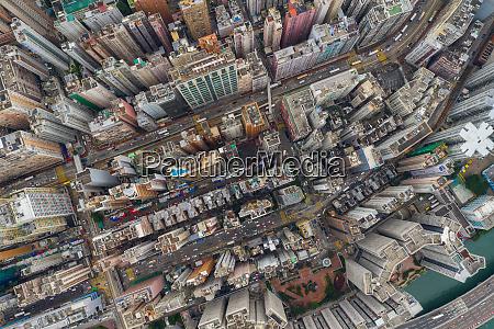 top view hong kong city aerial