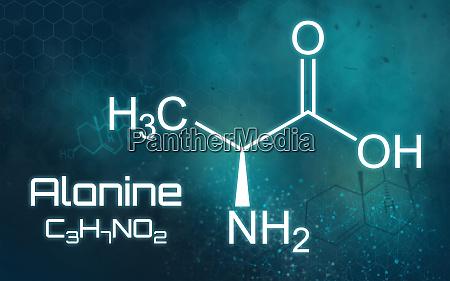 chemische formel von alanin auf einem