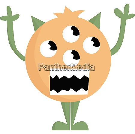 a brown 4 eyed monster vector