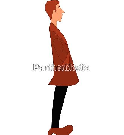 a boy in a brown coat