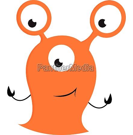 orange monster with three big eyes