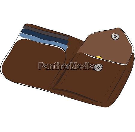 deep brown open man wallet vector