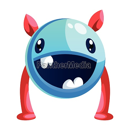 happy cartoon monster colorful white background