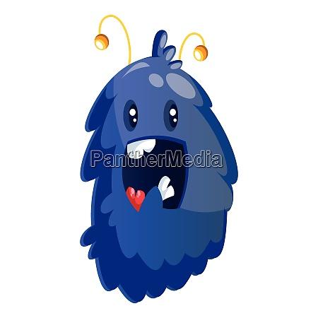 happy blue furry cartoon monster on