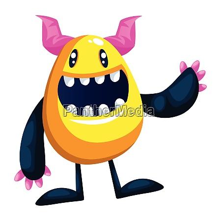 illustration of smiling yellow monster waving
