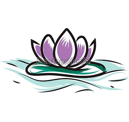 light purple lotus on water vector