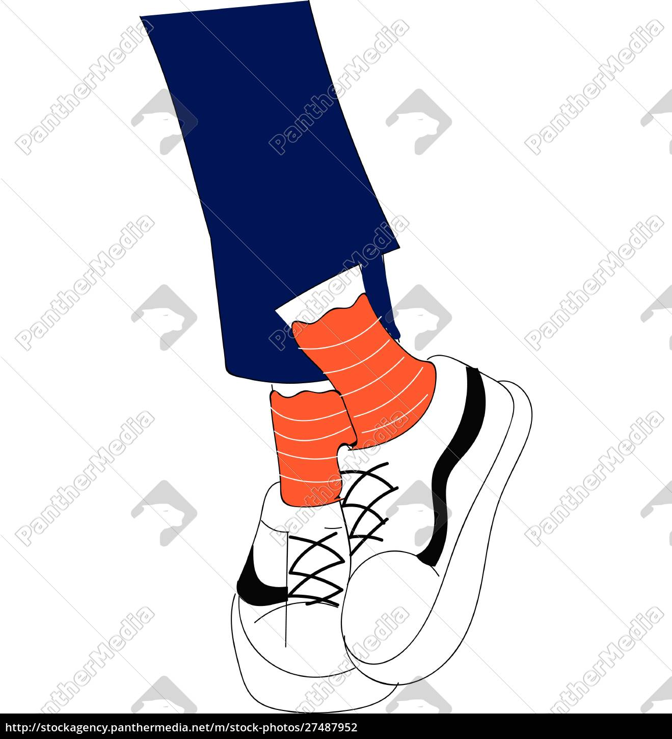 beine, in, blauen, jeans, orange, socken - 27487952