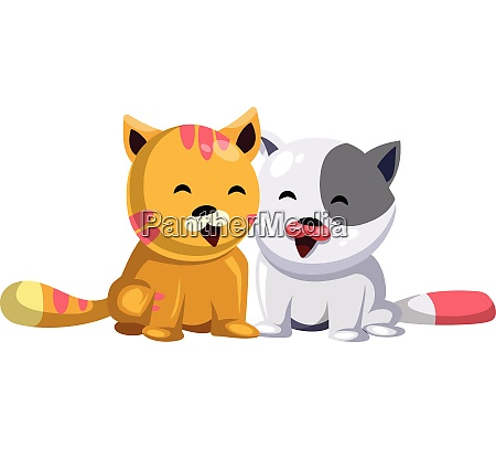 yellow cat and white cat smiling