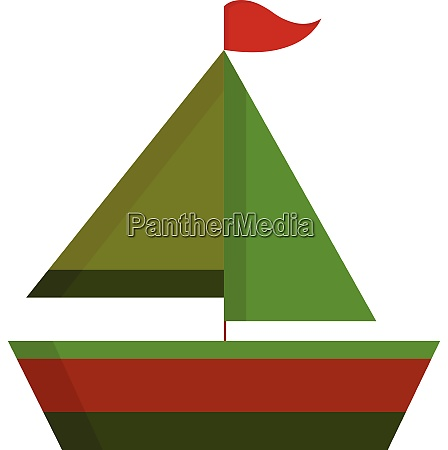 a small green and red sailboat