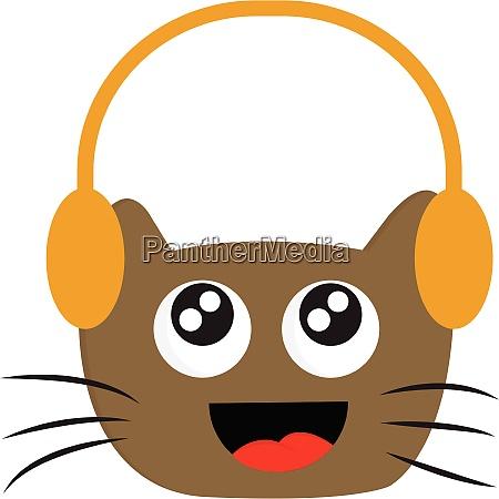 smiling brown cat with headphones vector