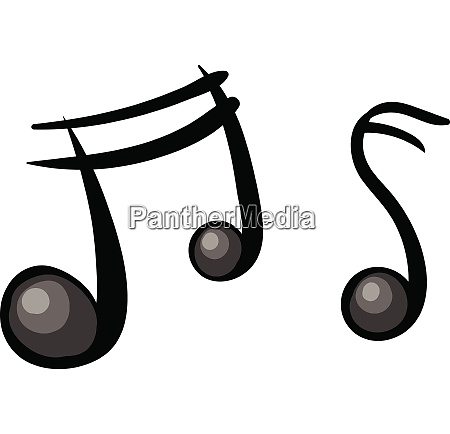 two cartoon musical notes in black