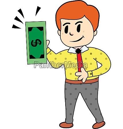 businessman with green dollar bill vector