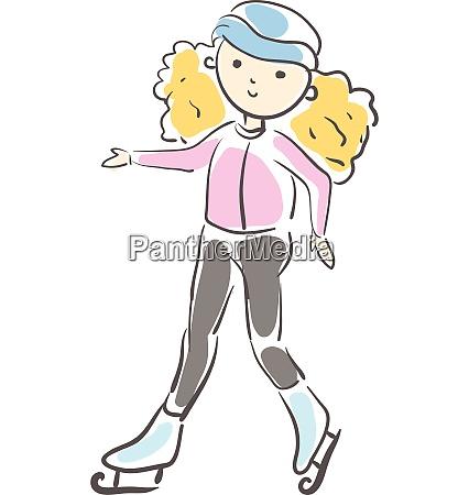 blondes, mädchen, eislaufen, vektor, illustration - 27489105