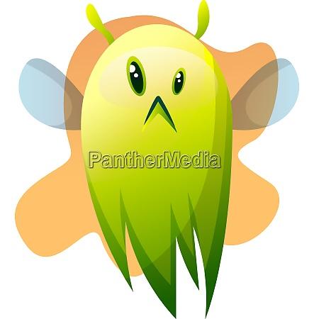 sad cartoon green little monster vector
