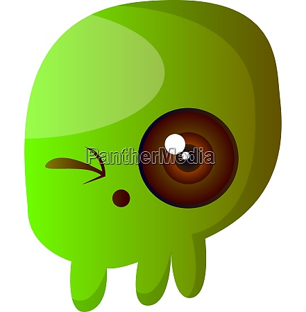 green cartoon skull vector illustartion on