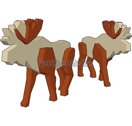 two white toy reindeer vector or