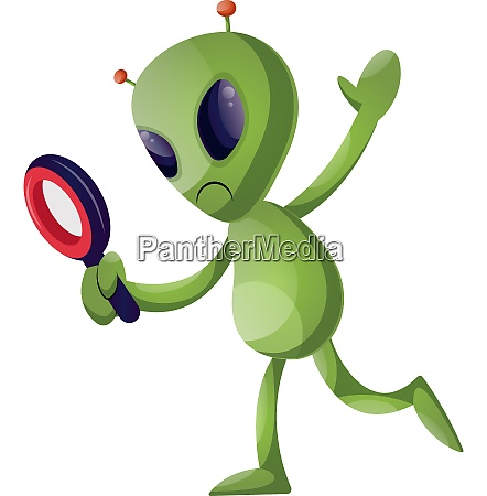alien with magnifying glass illustration vector