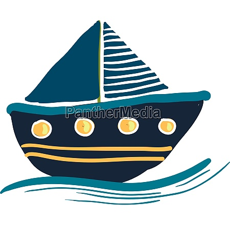 a colorful blue sailing boat vector
