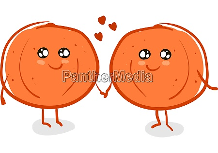 a 2 oranges holding hands vector