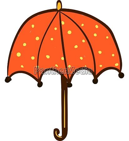 an orange umbrella with spots vector