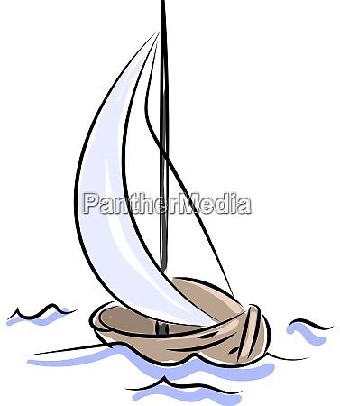wooden boat sailing illustration vector on