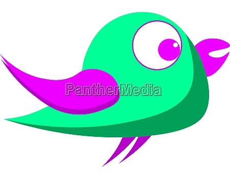 green bird with purple eyes illustration
