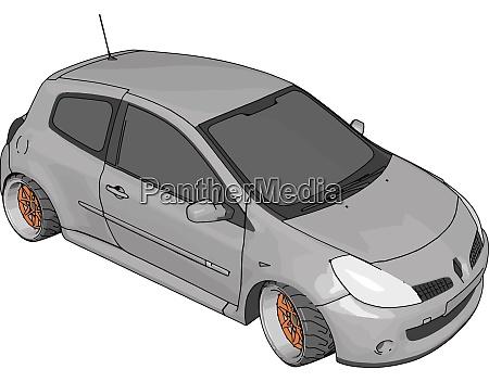 white renault clio illustration vector on