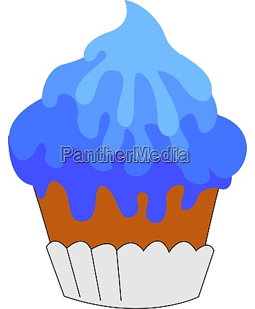 blue cupcake illustration vector on white
