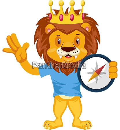 lion with compas illustration vector on