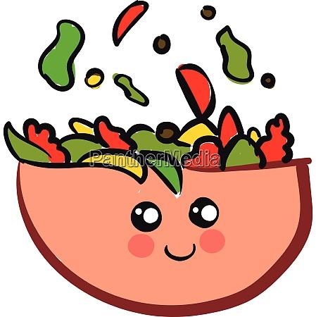 cute smiling pink salad