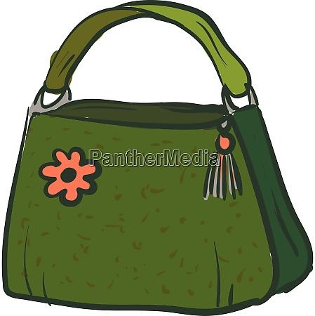 green handbag with a pink flower