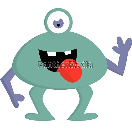 happy blue one eyed monster with