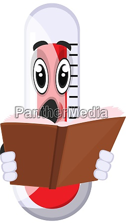 thermometer reading book illustration vector on
