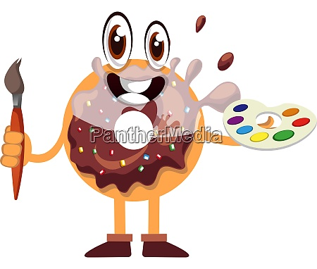 donut holding paintbrush illustration vector on