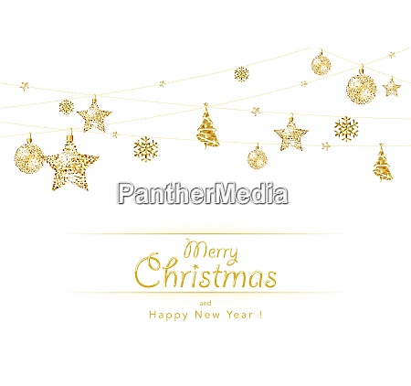 hanging golden christmas decoration on white