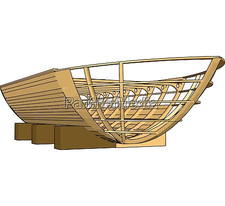 einfache vektor illustration eines hoelzernen kiel