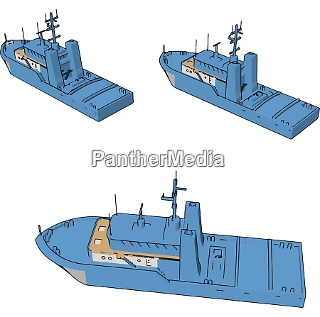 simple cartoon of three blue navy